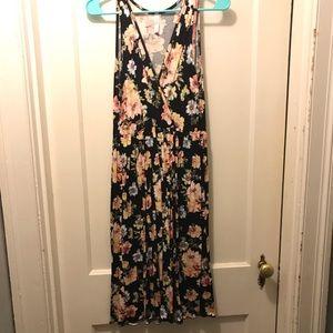 VNeck floral Midi Dress